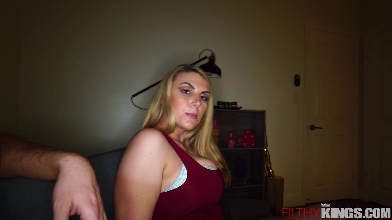 Busty Blonde Step-Mom Fucks Big Dick Son After Work
