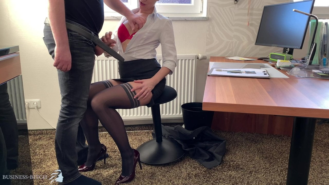 female boss uses trainee for dick riding - business-bitch