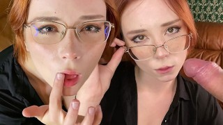 Horny Teacher Sucks Student Dick, Fucks and Gets Cum on Glasses